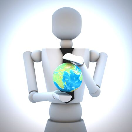 3d business man with earth globe in his hand photo