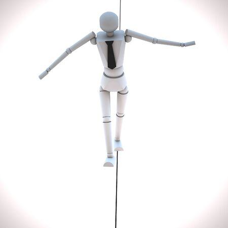 Businessman in equilibrium on a rope photo
