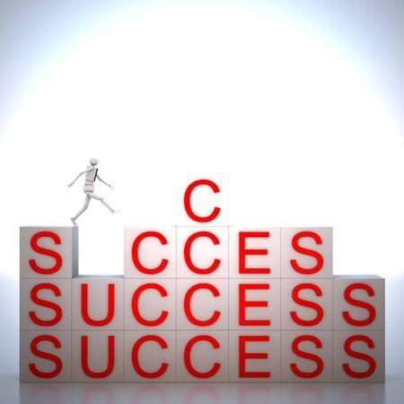 Businessman jumping on alphabet cube to success photo