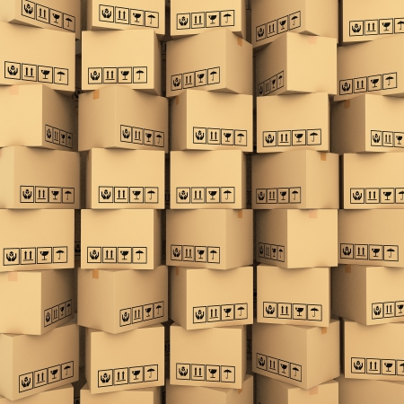 cartons: Cardboard boxes on white background 3d illustration