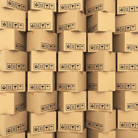 carton: Kartonnen dozen op een witte achtergrond 3d illustratie Stockfoto
