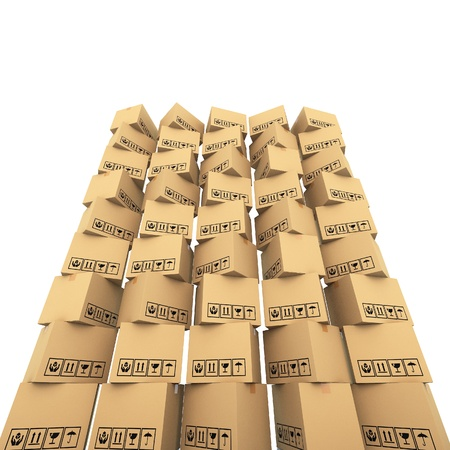 Cardboard boxes on white background 3d illustration illustration