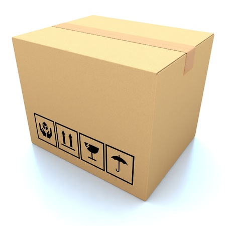 ship package: Cardboard boxes on white background 3d illustration