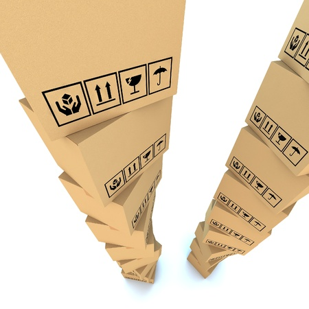 Cardboard boxes on white background 3d illustration Stock Illustration - 14984127