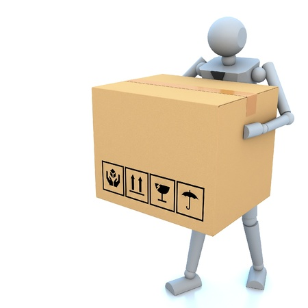 3d business man with cardboard boxes in his hand photo