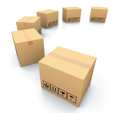 handling: Cardboard boxes on white background 3d illustration