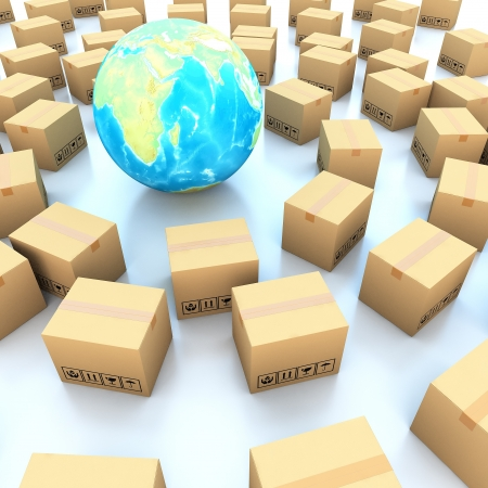 boxboard: Cardboard boxes and global on white background 3d illustration Stock Photo