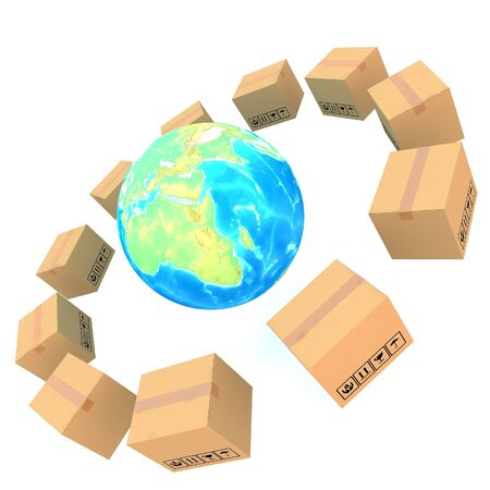 Cardboard boxes around global on white background 3d illustration illustration