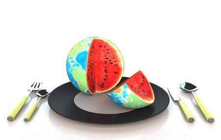 Watermelon in global 3d illustration illustration