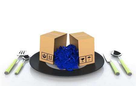boxboard: Cardboard boxes on white background 3d illustration
