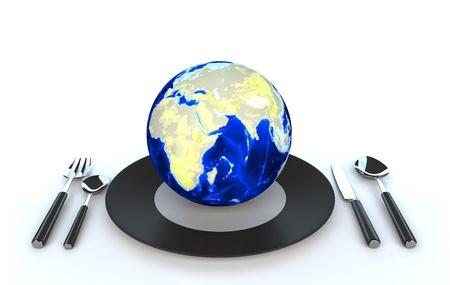 World globe on dish 3d illustration illustration