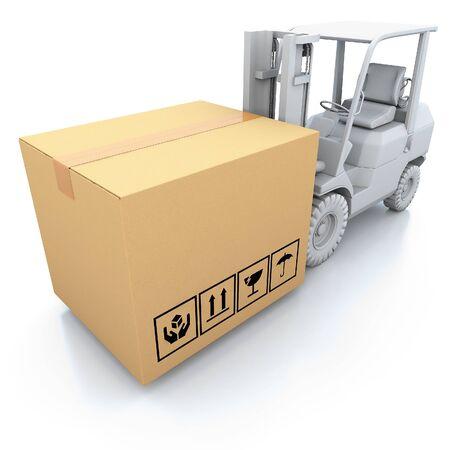 Cardboard boxes on white background 3d illustration illustration