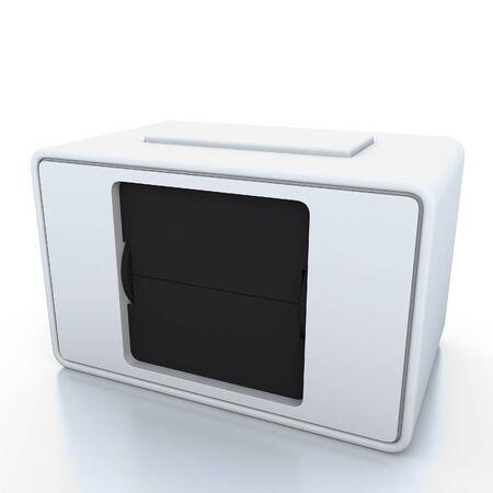 elapsed: White clock blank 3d illustration