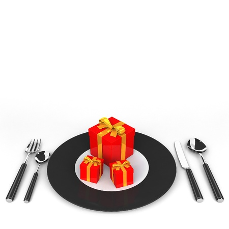 Illustration of gift box on a white plate Stock Photo