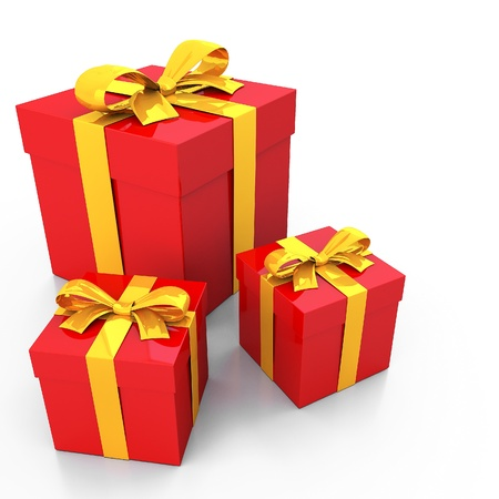 Red gift box and gold ribbon photo