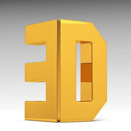 massive: Shiny gold3d word 3d illustration