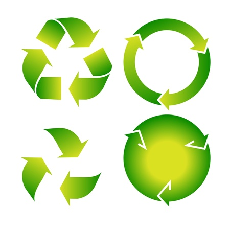 abstract recycle arrows: set of green recycle icon on white background