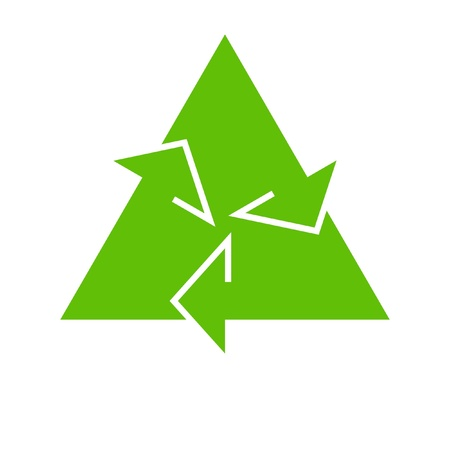 Green recycle icon on white background photo
