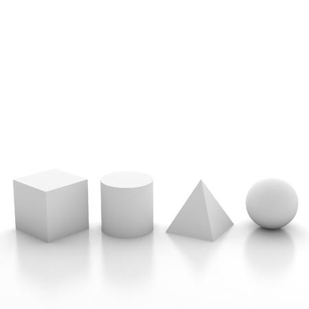 simplicity: Ilustración 3d formas geométricas básicas Foto de archivo