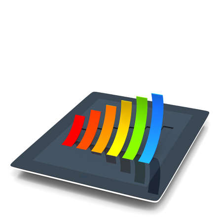 Business graph on tablet 3d illustration illustration