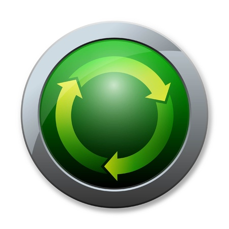 antipollution: Button of recycle icon