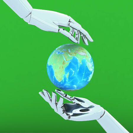 3d hands isolate on green background