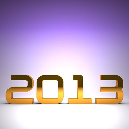 3D happy new year golden 2013 Stock Photo - 17022983