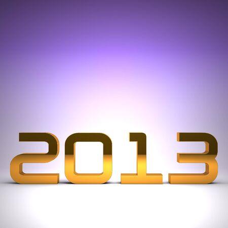 3D happy new year golden 2013 Stock Photo - 17022983