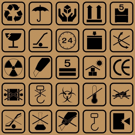 fragile: Black fragile symbol on cardboard