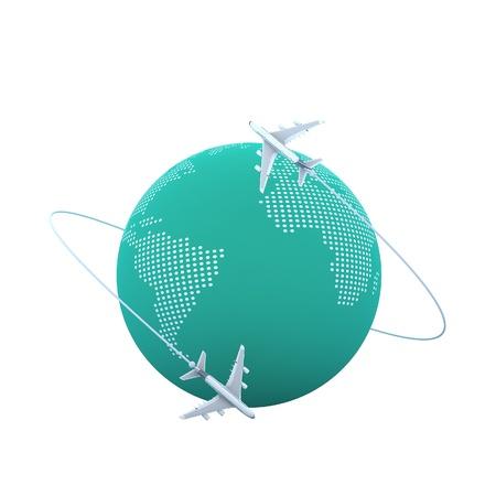 jetliner: 3d Planes flying around the globe Stock Photo