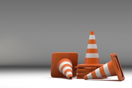3d group traffic cone on white background photo