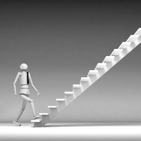 3d business man walking up stair photo