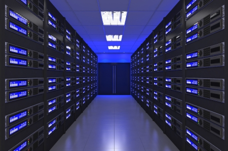 data processor: 3d Modern interior of server room Stock Photo