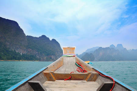 Floating ship in Ratchaprapa dam Suratthani, Thailand photo