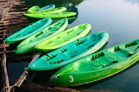 hobby hut: kayaks in lake on Ratchaprapa Dam,Khao Sok,Thailand Stock Photo
