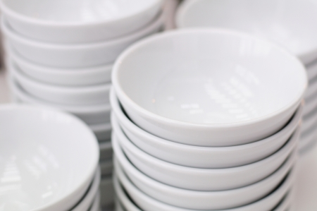 Stack of white bowls Stock Photo