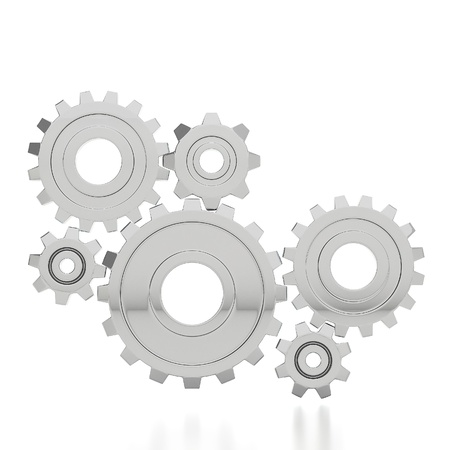 engine parts: Steel gear wheels - tools and settings icon Stock Photo
