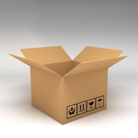 boxboard: Cardboard boxes on white background 3d illustration