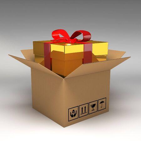 boxboard: Gift box in cardboard boxes 3d illustration