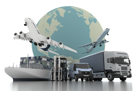 storage container: 3d world wide cargo transport concept