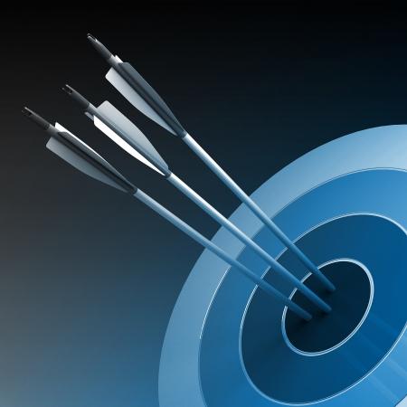 ganar: Flechas que golpean el centro de destino - concepto de �xito empresarial Foto de archivo