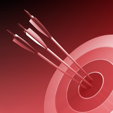 successful campaign: Arrows hitting the center of target - success business concept