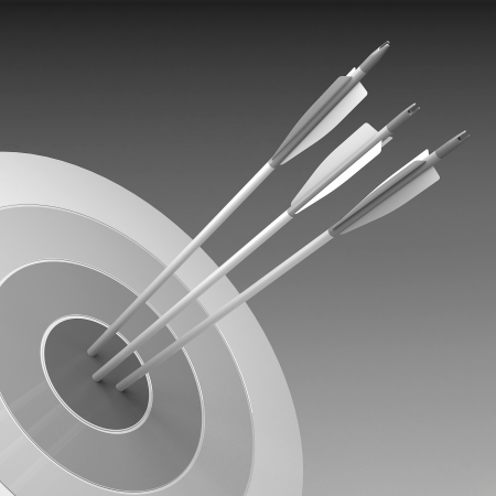 strategic focus: Arrows hitting the center of target - success business concept