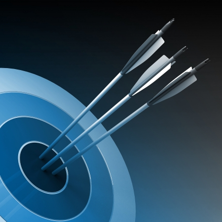 strategic plan: Arrows hitting the center of target - success business concept