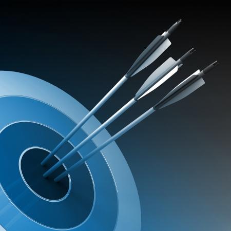 strategic advantage: Arrows hitting the center of target - success business concept