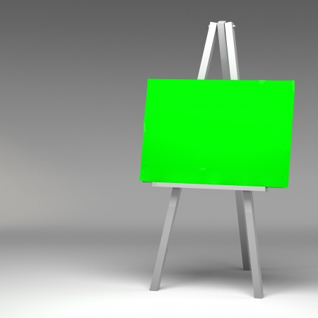 3d Blank art board, wooden easel photo