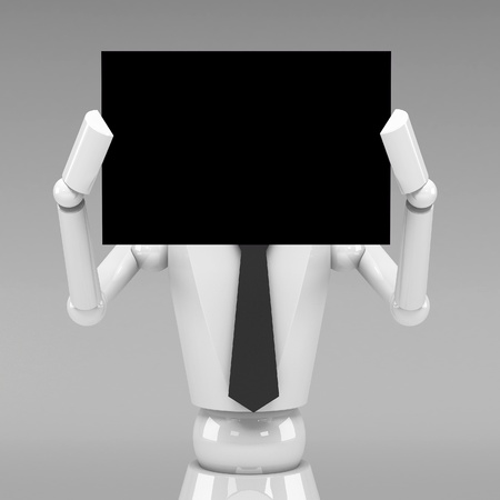 3d Business doll showing a blank paper in front of face Stock Photo - 21912689