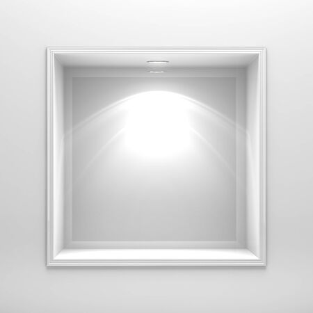 3d decoration shelf on white wall photo