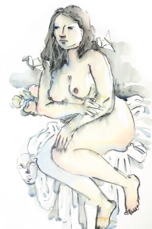 Original watercolor nude figure photo