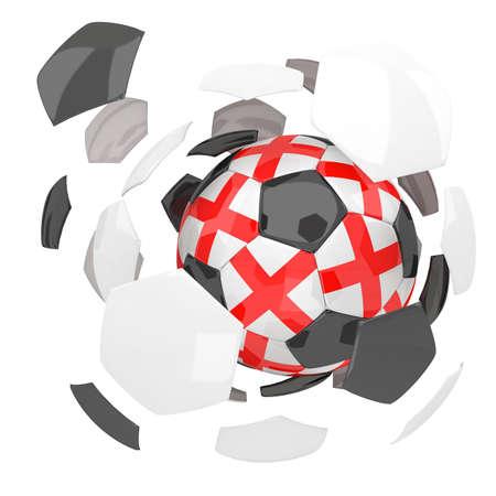 3d rendering England soccer ball on white  background photo